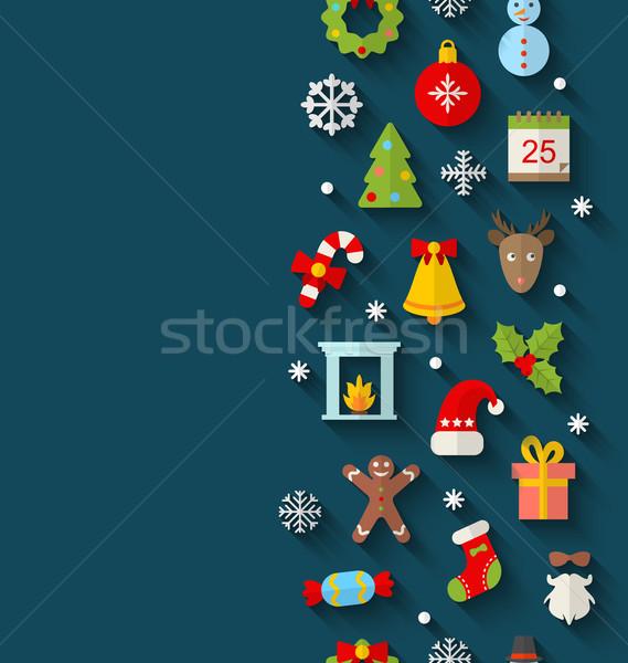Сток-фото: Рождества · иконки · долго · Тени · иллюстрация · бесшовный