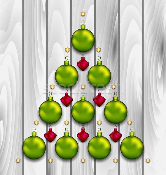 Abstract Tree Made of Christmas Balls Stock photo © smeagorl