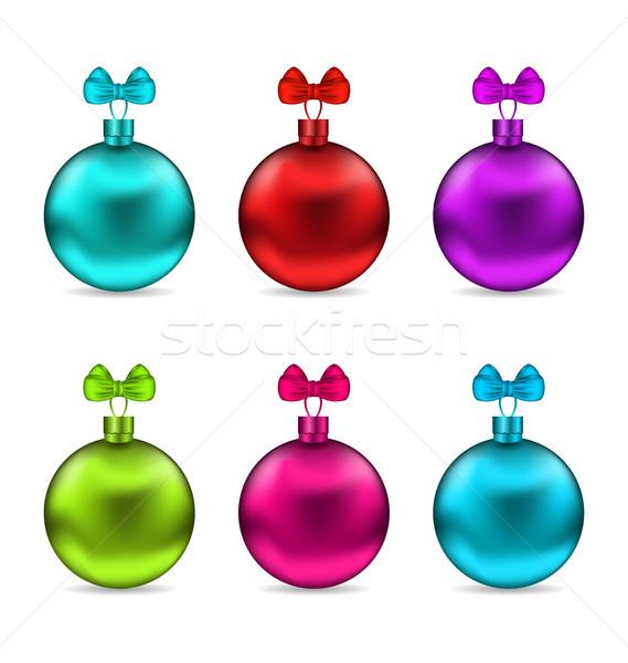 Collectie christmas kleurrijk glazig bogen Stockfoto © smeagorl