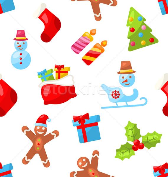 Natale illustrazione inverno decorazione wallpaper Foto d'archivio © smeagorl