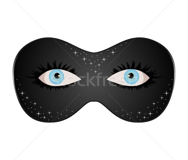 Yeux bleus caché scénique masque illustration fête Photo stock © smeagorl