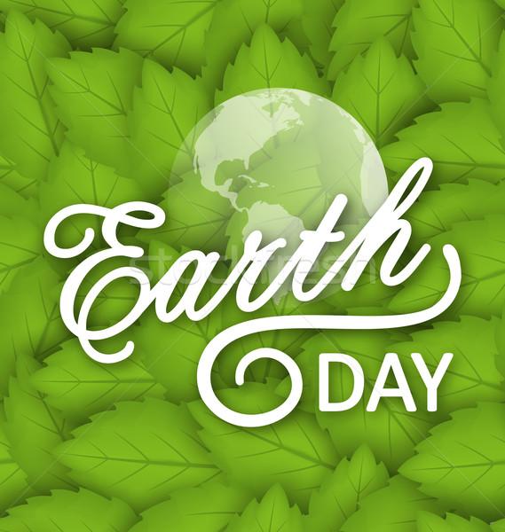 Föld napja ünnep illusztráció szöveg tipográfiai elemek Stock fotó © smeagorl