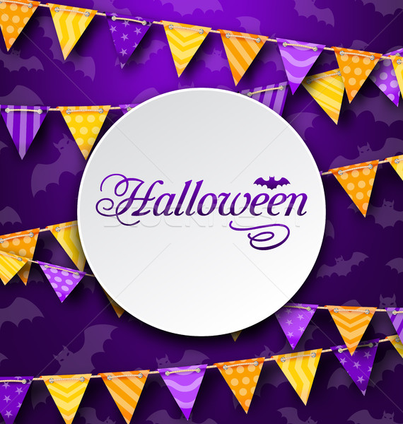 Halloween Greeting Card with Colored Bunting Stock photo © smeagorl