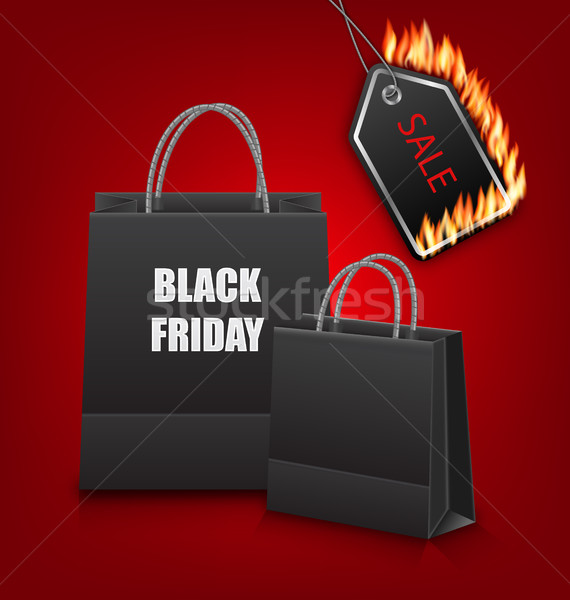 Shopping Paper Bags for Black Friday Sales and Discount with Fire Stock photo © smeagorl