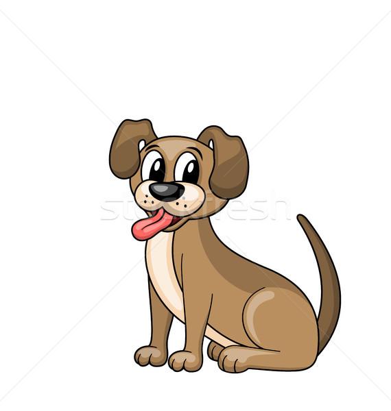 Desenho animado cão sessão engraçado isolado branco Foto stock © smeagorl