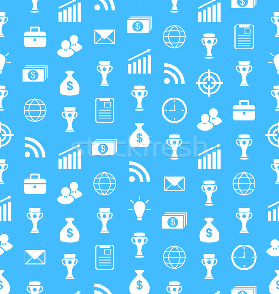 Seamless Pattern with Flat Business and Financial Icons, Repeating Wallpaper Stock photo © smeagorl