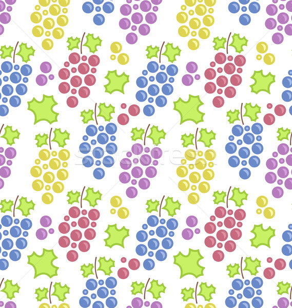 Stock photo: Seamless Pattern with Colorful Bunches of Grape