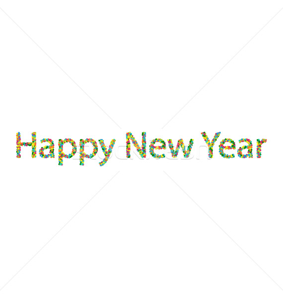 Happy New Year lettering from colourful confetti Stock photo © smeagorl