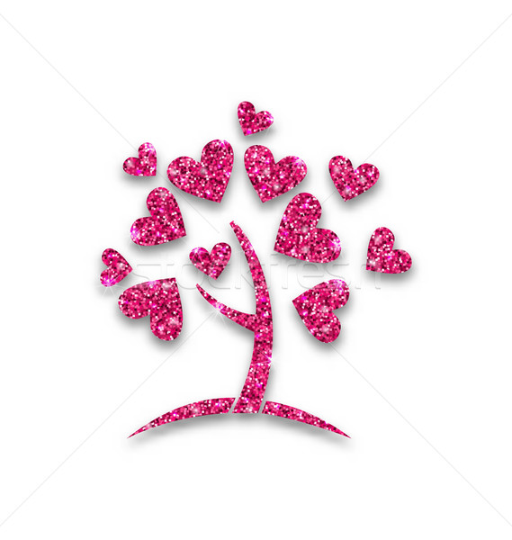Concept of Tree with Shimmering Heart Leaves Stock photo © smeagorl