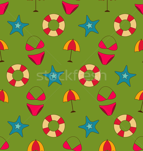 Colorful Vintage Seamless Wallpaper with Summer Beach Objects Stock photo © smeagorl