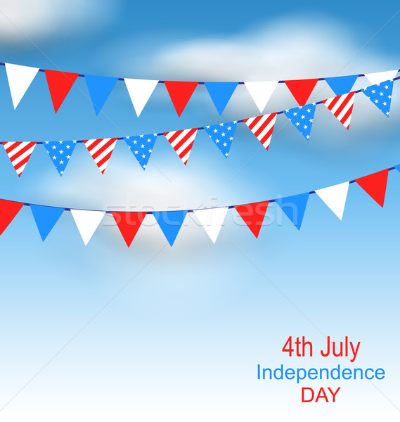Hanging Bunting Pennants in National American Colors for Independence Day Stock photo © smeagorl