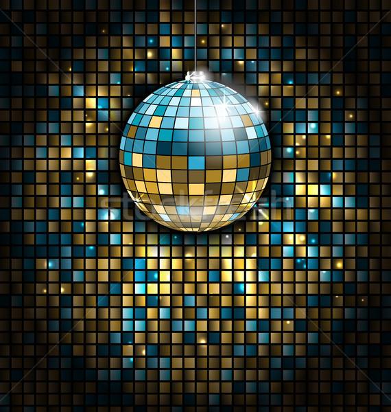 Arany kék diszkógömb fény sugarak mozaik Stock fotó © smeagorl
