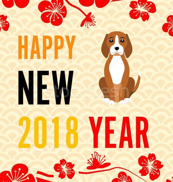 Happy Chinese new year 2018 card with Gold Dog abstract on red background vector design (Chinese wor Stock photo © smeagorl
