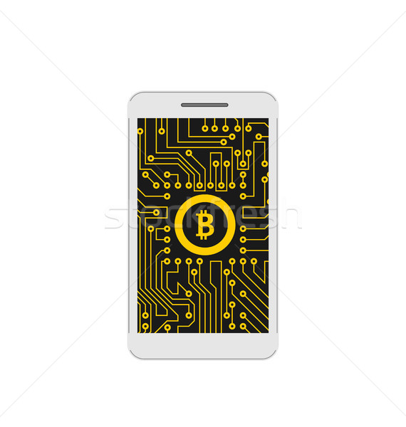 Bitcoin, BTC, CryptoCurrency, Concept of Mining Digital Money, Bit-Coin and Mobile Phone Stock photo © smeagorl