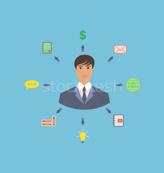 Biznesmen około ikona social media sieci innowacja Zdjęcia stock © smeagorl