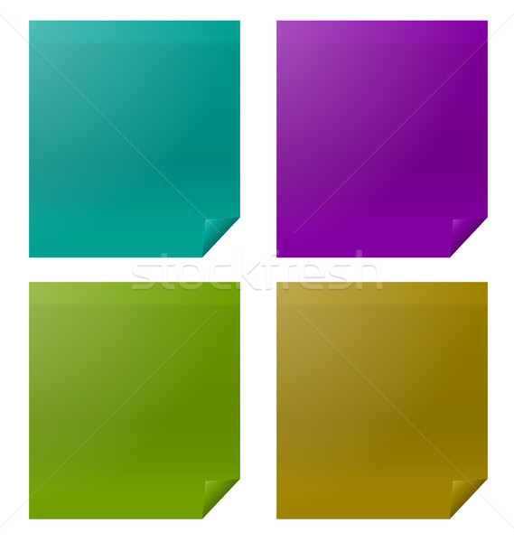 Set Colorful Four Paper Stickers Stock photo © smeagorl