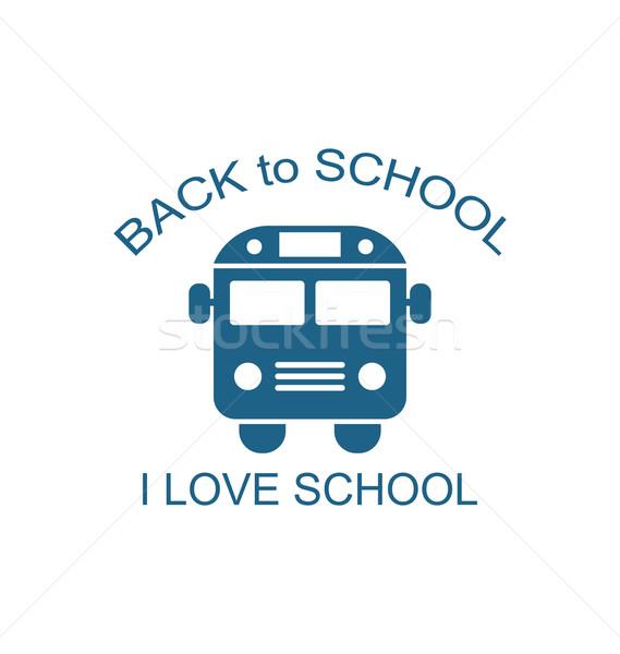 Iskolabusz izolált illusztráció fehér vissza az iskolába ikon Stock fotó © smeagorl