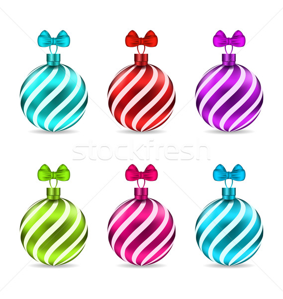 Set Christmas Colorful Glassy Balls Stock photo © smeagorl