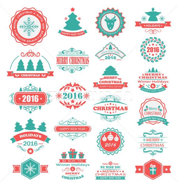 Foto stock: Alegre · Navidad · feliz · vacaciones · ilustración