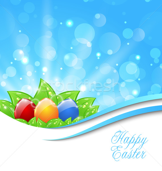 Spring Background with Easter Colorful Eggs Stock photo © smeagorl