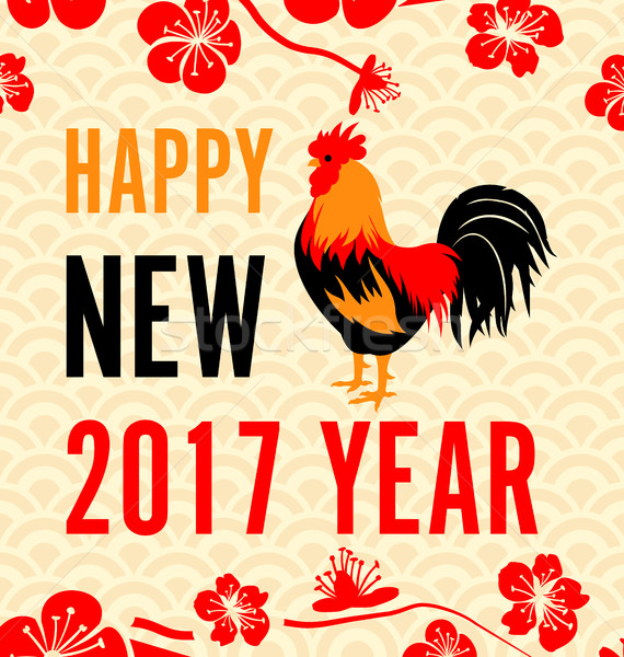 Chinese New Year Background with Roosters Stock photo © smeagorl