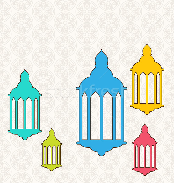 Ramadan kleurrijk lampen illustratie ontwerp kunst Stockfoto © smeagorl
