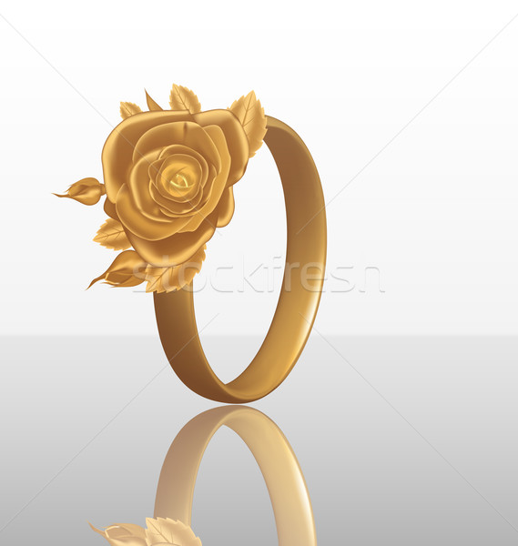 Jewelry ring with golden rose Stock photo © smeagorl
