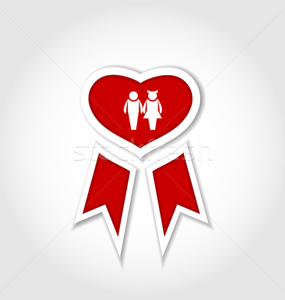 Award ribbon with human icons for Valentines day Stock photo © smeagorl