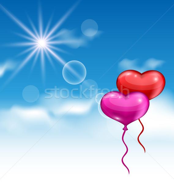 ストックフォト: 2 · 心 · 風船 · バレンタイン · 日