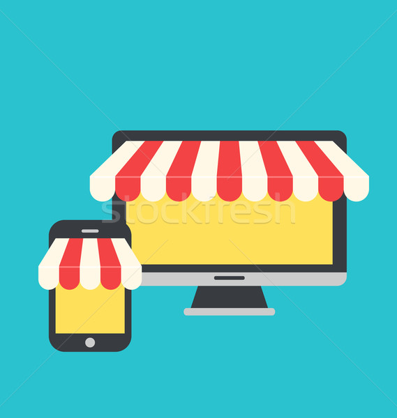 Concept of online shop, e-commerce, flat icons style of computer Stock photo © smeagorl