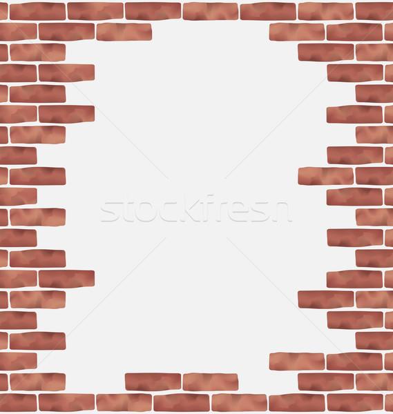 Broken brown brick wall, grunge texture background Stock photo © smeagorl