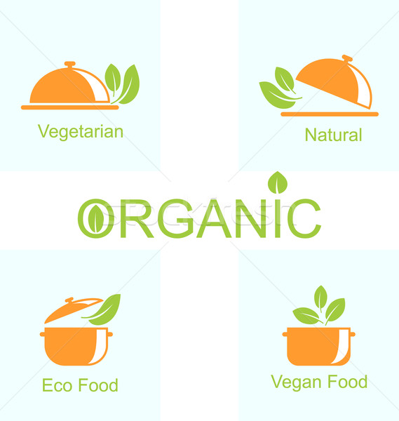 Set of Vegetarian Food Icons Stock photo © smeagorl