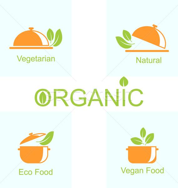 Szett vegetáriánus étel ikonok illusztráció egészséges élet terv Stock fotó © smeagorl