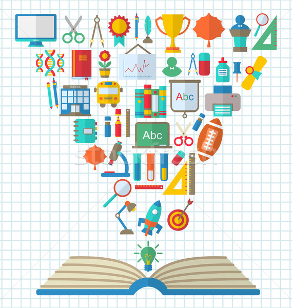 Flat Colorful Simple Icons and Textbook Stock photo © smeagorl