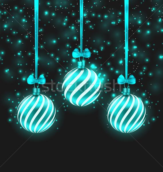Natal escuro ilustração turquesa vítreo Foto stock © smeagorl