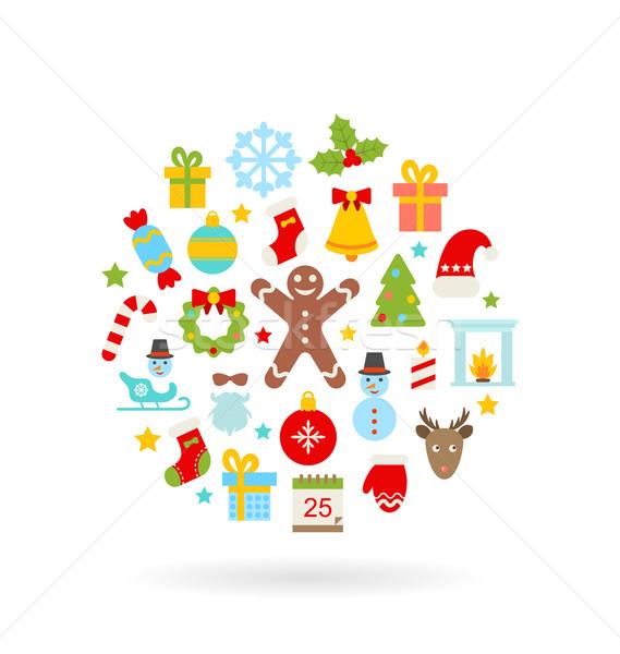 Natale colorato icone illustrazione minimalismo stile Foto d'archivio © smeagorl
