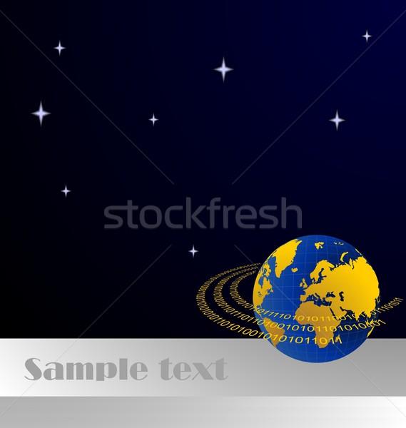 Illustration of invitation card with data stream around terra pl Stock photo © smeagorl