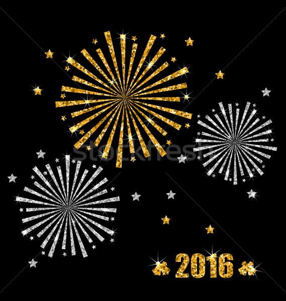 Abstract Festive Firework with Golden and Silver Surface Stock photo © smeagorl