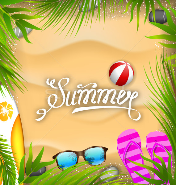 Gyönyörű poszter pálmalevelek strandlabda szörf tábla Stock fotó © smeagorl