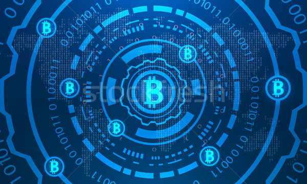 Bitcoins with HUD Elements, Binary World Map, BTC, Virtual Money, Crypto Currency Stock photo © smeagorl