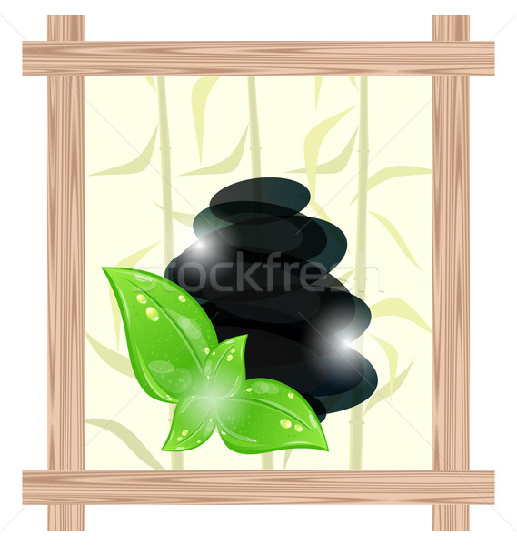 Wooden frame with cairn stones and eco green leaves Stock photo © smeagorl
