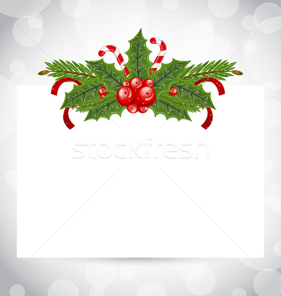 Christmas elegant card with holiday decoration (holly berry, pin Stock photo © smeagorl