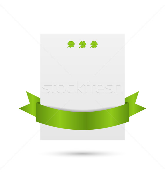 Greeting card with shamrocks and ribbon for St. Patrick's Day Stock photo © smeagorl