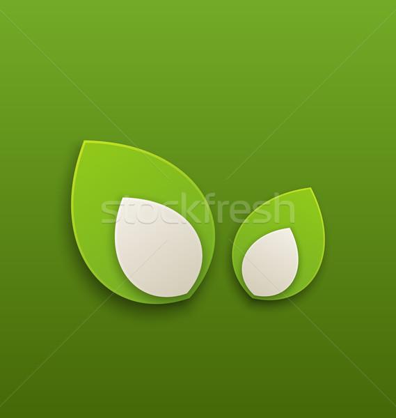 Zöld papír levelek környezetbarát illusztráció absztrakt Stock fotó © smeagorl