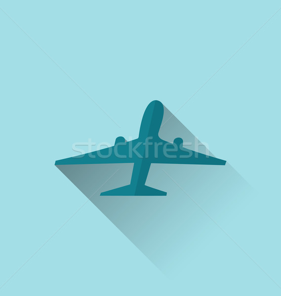 Icon of aircraft with long shadow, modern flat style Stock photo © smeagorl