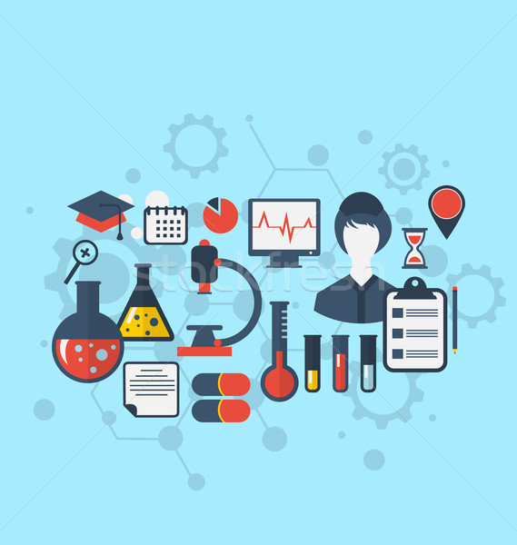 Concept of management  medical science research, set flat icons Stock photo © smeagorl