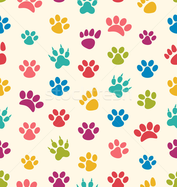 Seamless Texture with Traces of Cats, Dogs. Imprints of Paws Pet Stock photo © smeagorl