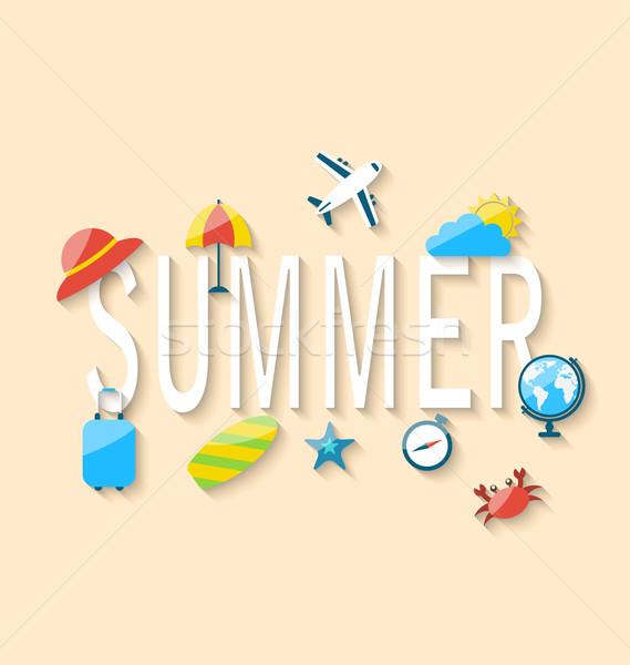 Utazás nyár turizmus tárgyak felszerelések illusztráció Stock fotó © smeagorl
