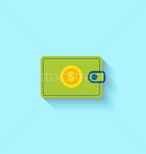 Ikon pénztárca illusztráció hosszú árnyék modern stílusú Stock fotó © smeagorl