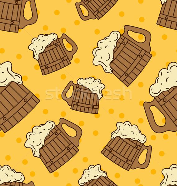 Sem costura espuma cerveja comida Foto stock © smeagorl